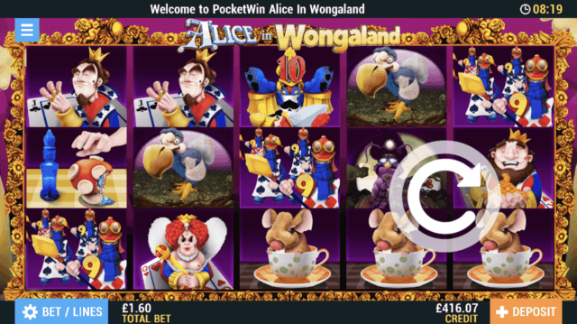 Alice in Wongaland Mobile Slots at PocketWin Online Casino - in game image