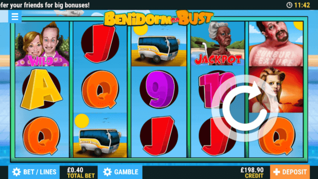 Benidorm or Burst Online Slots at PocketWin Online Casino - in game image