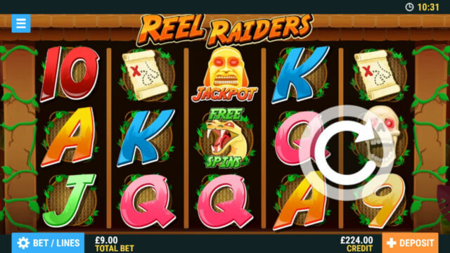 Reel Raiders mobile slots by PocketWin online casino - in game image