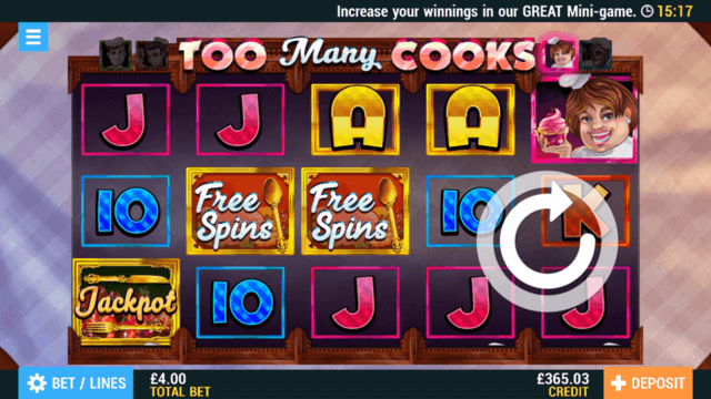 Too Many Cooks Online Slots at PocketWin Online Casino - in game image