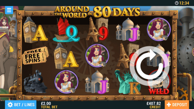 Around the World in 80 Days online slots by PocketWin online casino - in game image