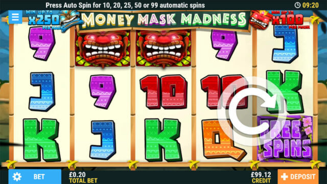 Monay Mask Madness Online Slots at PocketWin Online Casino - game play image